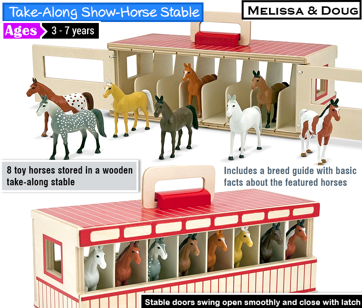 Melissa & Doug Take-Along Show-Horse Stable Play Set With Wooden Stable Box and 8 Toy Horses : cool farm toys.